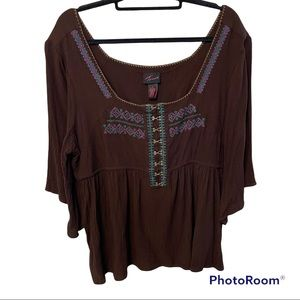 Torrid embroidered brown size 3 blouse top